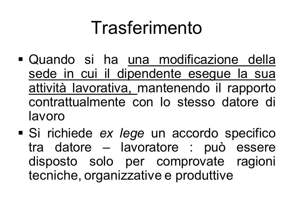 Trasferimento Quando si ha una modificazione della sede in cui il dipendente esegue la sua attività lavorativa, mantenendo il rapporto contrattualment