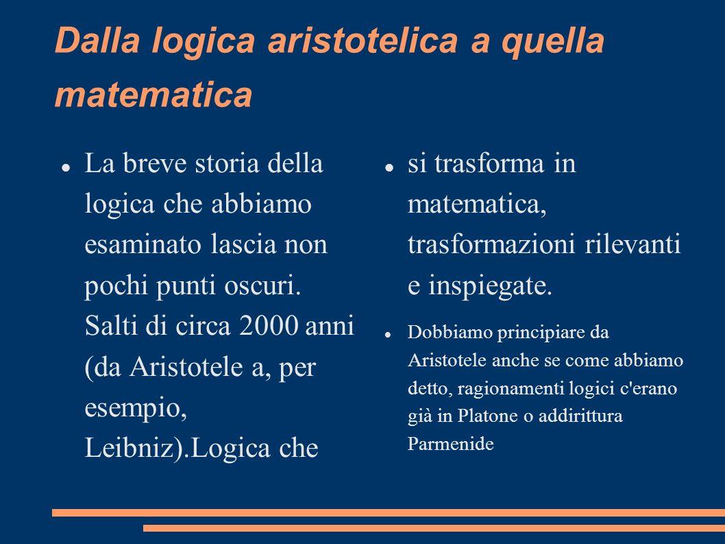Dalla logica aristotelica a quella matematica La breve storia della logica che abbiamo esaminato lascia non pochi punti oscuri. Salti di circa 2000 an