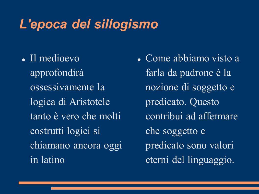 L'epoca del sillogismo Il medioevo approfondirà ossessivamente la logica di Aristotele tanto è vero che molti costrutti logici si chiamano ancora oggi