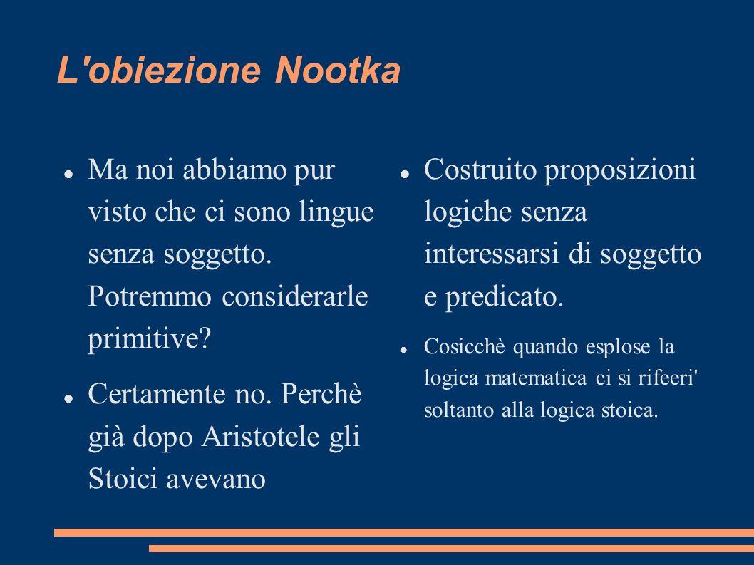 L'obiezione Nootka Ma noi abbiamo pur visto che ci sono lingue senza soggetto. Potremmo considerarle primitive? Certamente no. Perchè già dopo Aristot