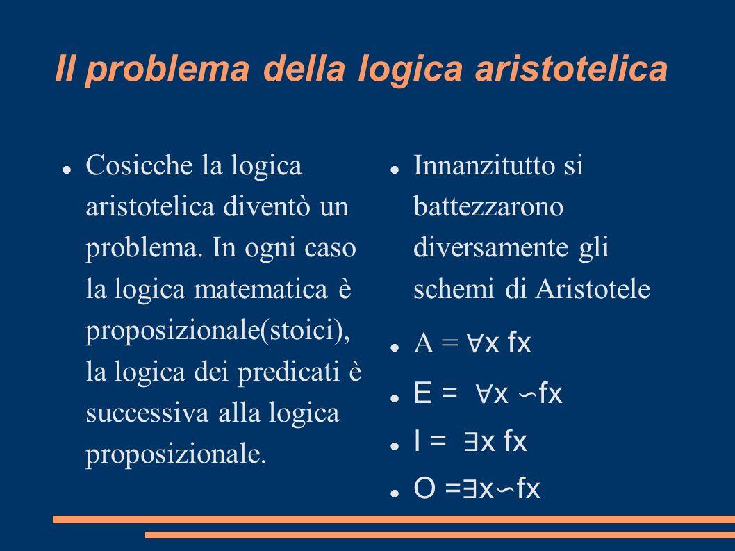 Il problema della logica aristotelica Cosicche la logica aristotelica diventò un problema. In ogni caso la logica matematica è proposizionale(stoici),