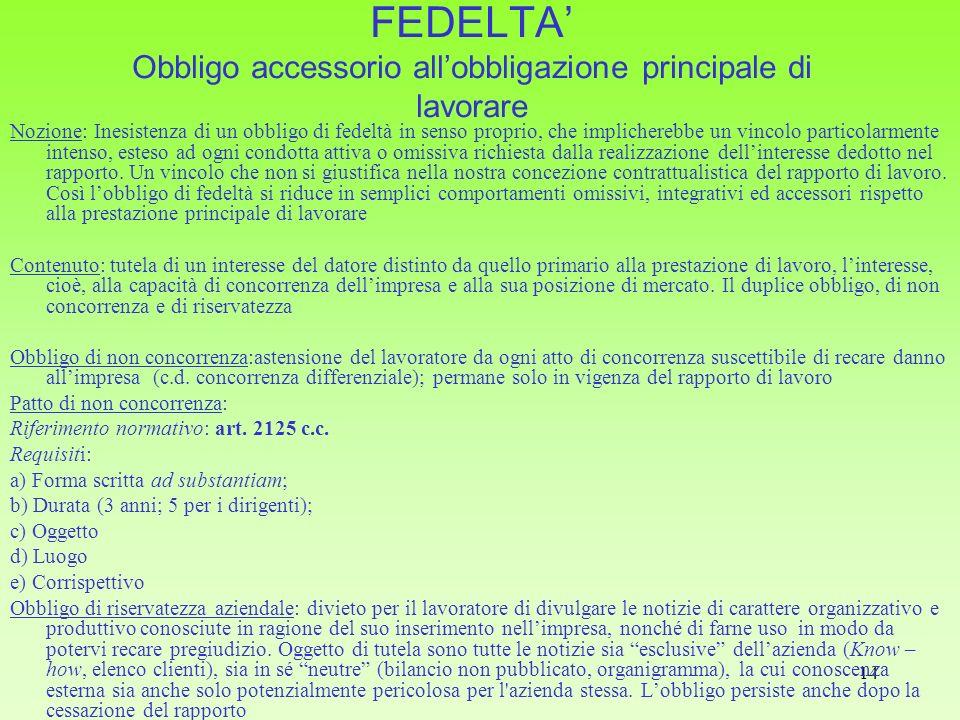 14 FEDELTA Obbligo accessorio allobbligazione principale di lavorare Nozione: Inesistenza di un obbligo di fedeltà in senso proprio, che implicherebbe