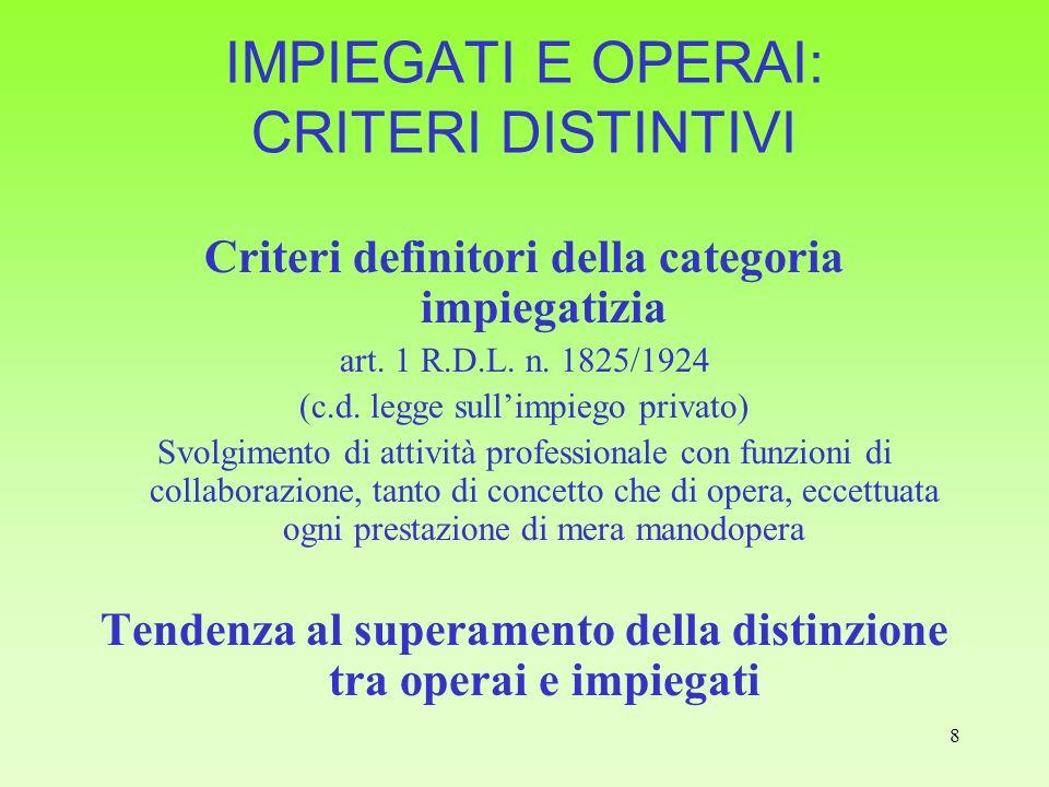 8 IMPIEGATI E OPERAI: CRITERI DISTINTIVI Criteri definitori della categoria impiegatizia art. 1 R.D.L. n. 1825/1924 (c.d. legge sullimpiego privato) S