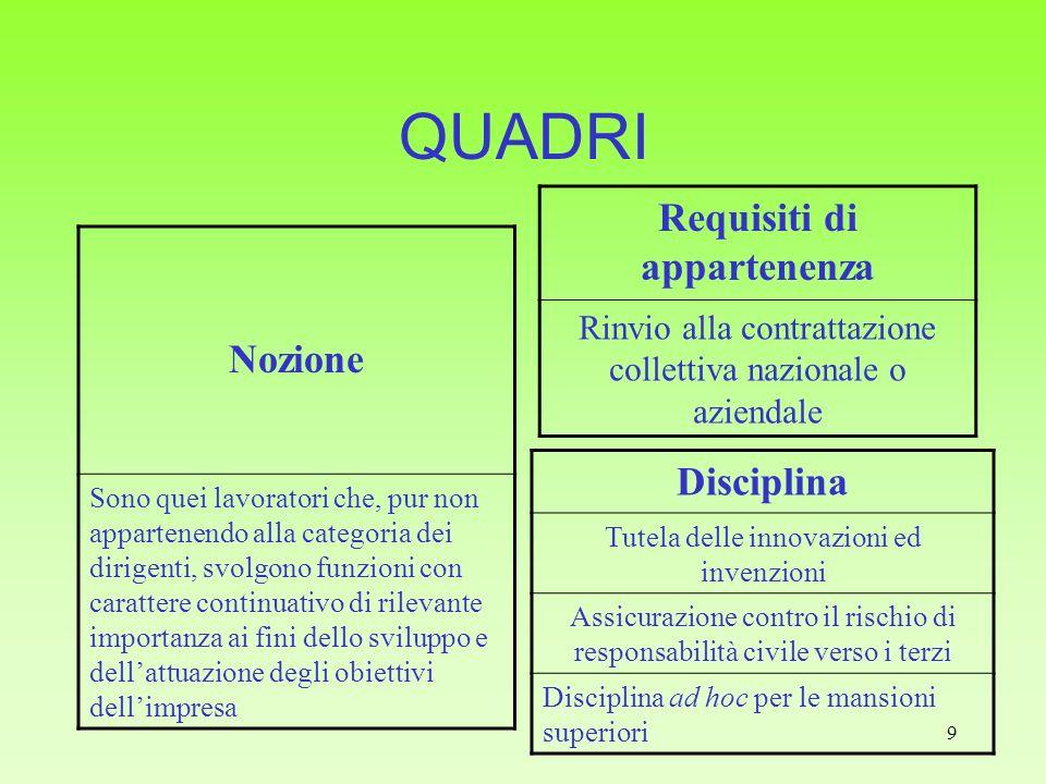 9 QUADRI Nozione Sono quei lavoratori che, pur non appartenendo alla categoria dei dirigenti, svolgono funzioni con carattere continuativo di rilevant