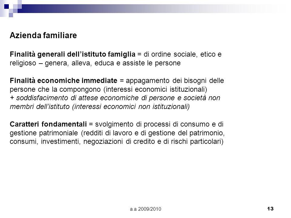 a.a 2009/201013 Azienda familiare Finalità generali dellistituto famiglia = di ordine sociale, etico e religioso – genera, alleva, educa e assiste le