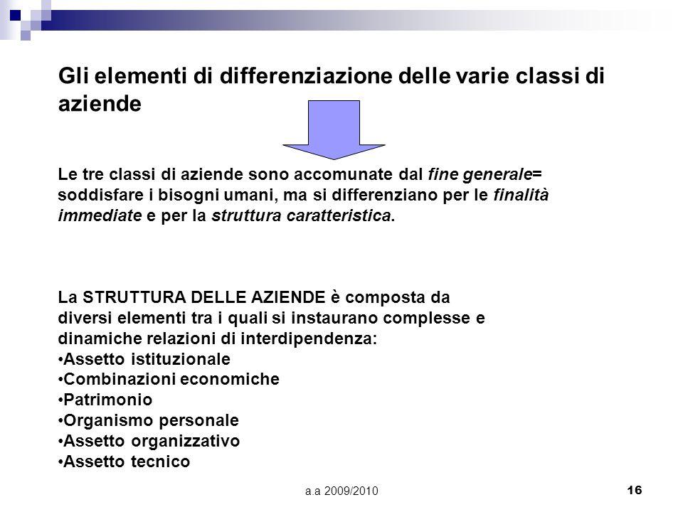 a.a 2009/201016 Gli elementi di differenziazione delle varie classi di aziende Le tre classi di aziende sono accomunate dal fine generale= soddisfare