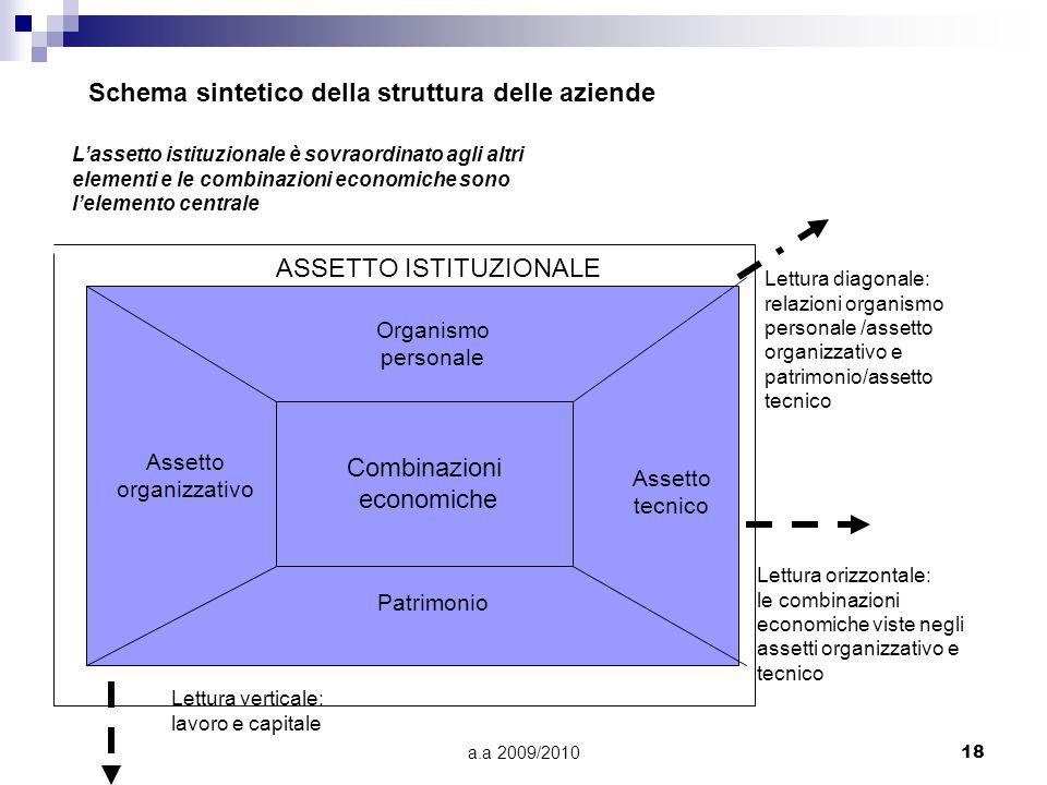 a.a 2009/201018 Schema sintetico della struttura delle aziende Lassetto istituzionale è sovraordinato agli altri elementi e le combinazioni economiche