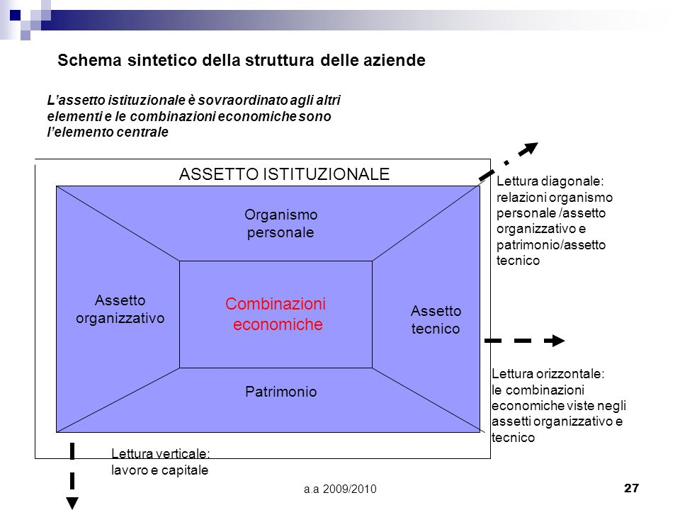 a.a 2009/201027 Schema sintetico della struttura delle aziende Lassetto istituzionale è sovraordinato agli altri elementi e le combinazioni economiche