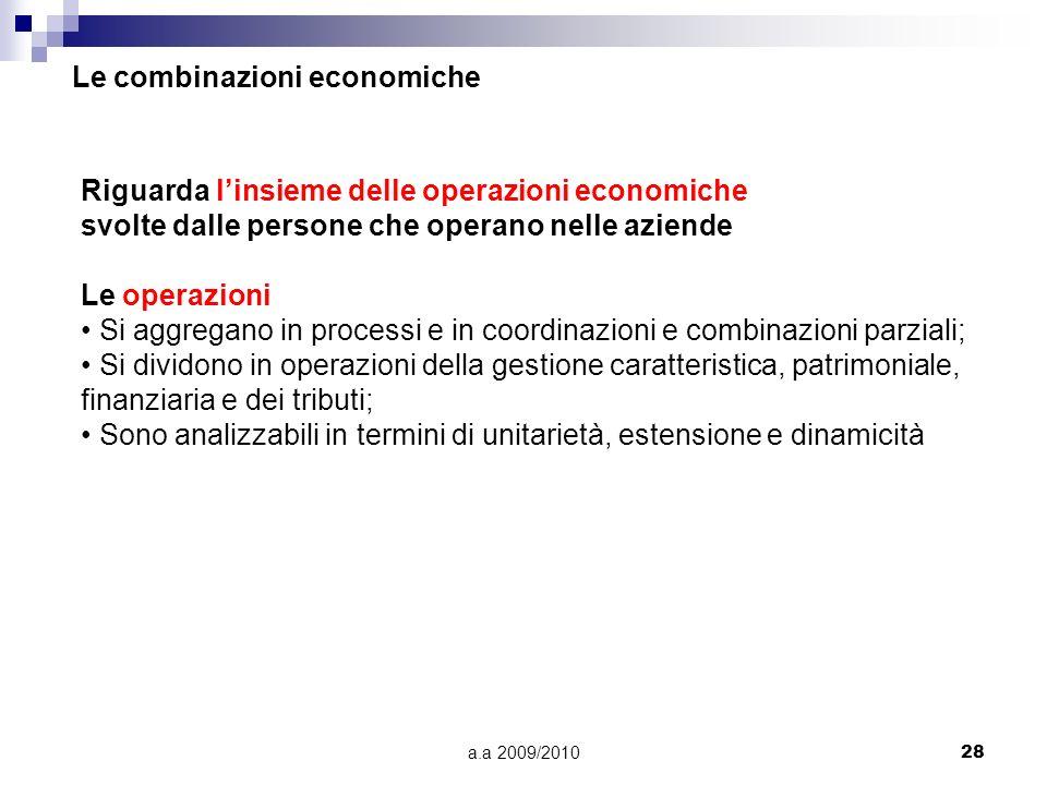 a.a 2009/201028 Riguarda linsieme delle operazioni economiche svolte dalle persone che operano nelle aziende Le operazioni Si aggregano in processi e