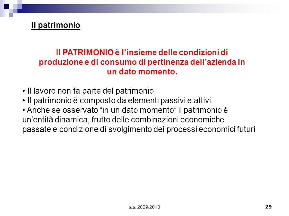 a.a 2009/201029 Il patrimonio Il PATRIMONIO è linsieme delle condizioni di produzione e di consumo di pertinenza dellazienda in un dato momento. Il la