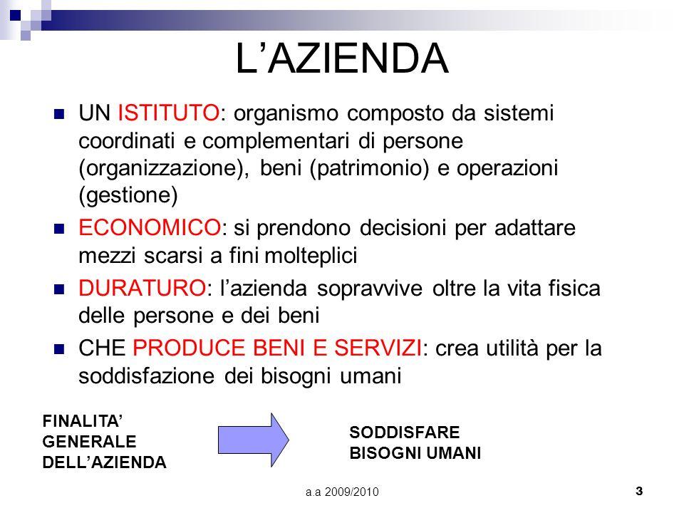 a.a 2009/20103 LAZIENDA UN ISTITUTO: organismo composto da sistemi coordinati e complementari di persone (organizzazione), beni (patrimonio) e operazi