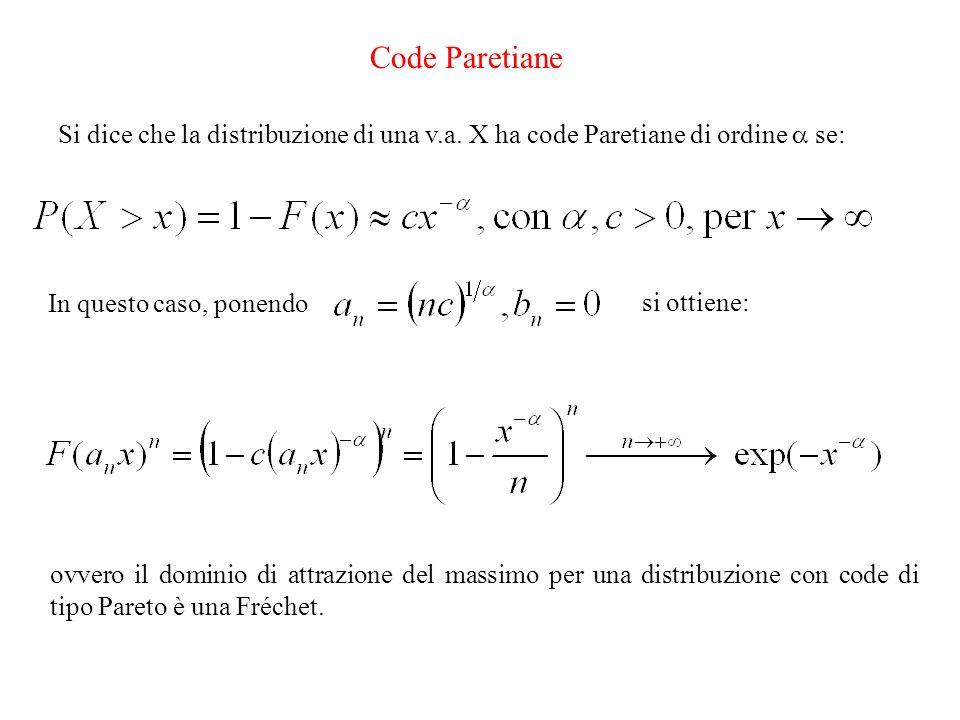 Code Paretiane Si dice che la distribuzione di una v.a. X ha code Paretiane di ordine se: In questo caso, ponendo si ottiene: ovvero il dominio di att