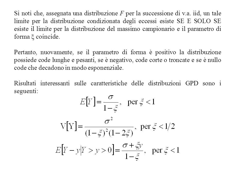 Si noti che, assegnata una distribuzione F per la successione di v.a. iid, un tale limite per la distribuzione condizionata degli eccessi esiste SE E