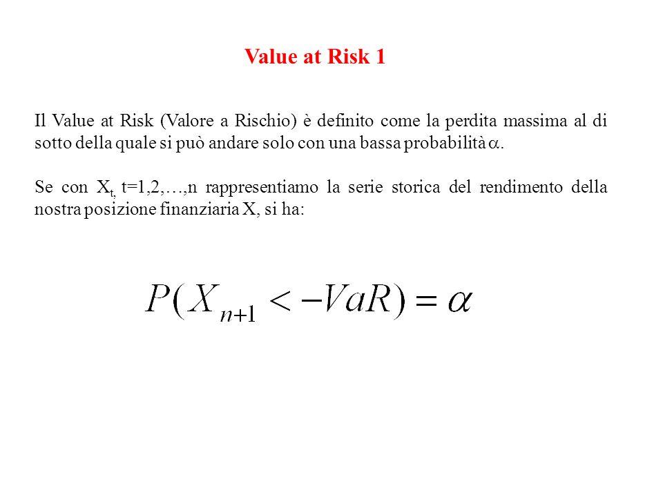 Value at Risk 2 Il Value at Risk è quindi un quantile, corrispondente in genere al 5% o all 1%, della distribuzione di probabilità del rendimento della posizione finanziaria X su un orizzonte temporale prefissato (1 giorno, una settimana, etc.).