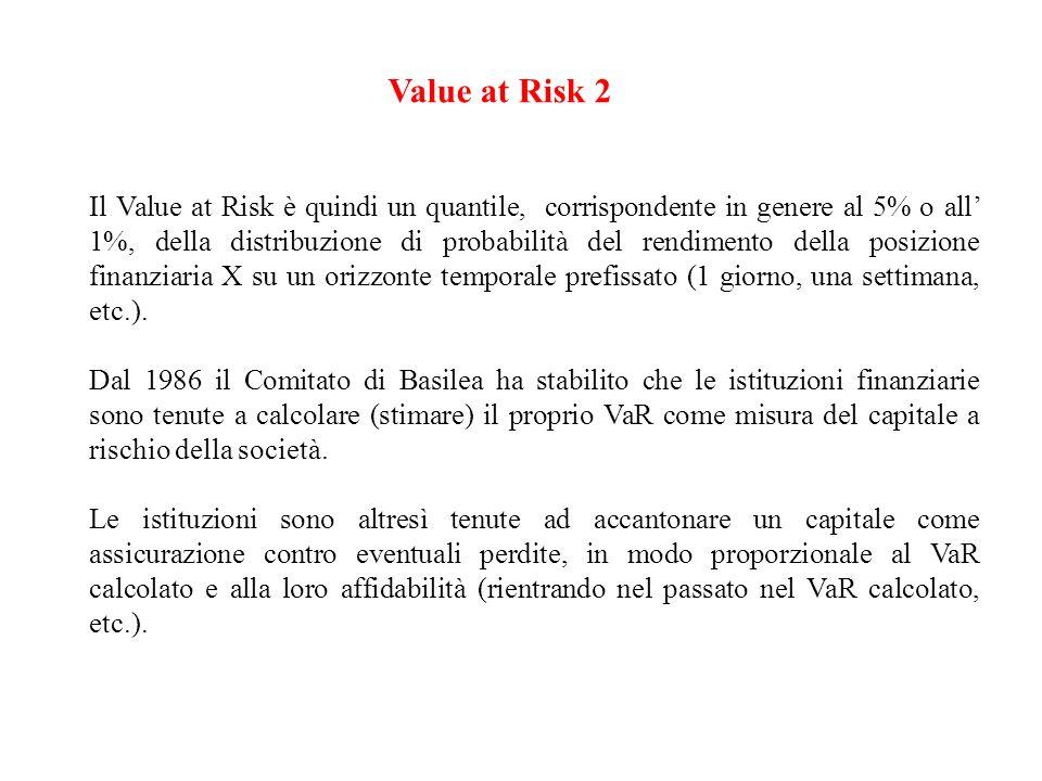 Value at Risk 2 Il Value at Risk è quindi un quantile, corrispondente in genere al 5% o all 1%, della distribuzione di probabilità del rendimento dell