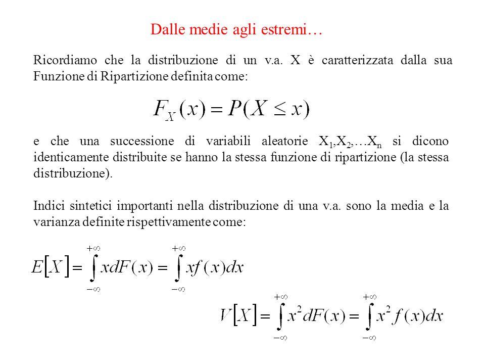 Dalle medie agli estremi 2… Due dei teoremi cardine dellinferenza statistica standard riguardano appunto la distribuzione della MEDIA di una successione di variabili aleatorie: Siano X 1,X 2,…X n … variabili aleatorie indipendenti ed identicamente distribuite con media e varianza 2 e sia: Legge dei grandi numeri la media aritmetica delle prime n.