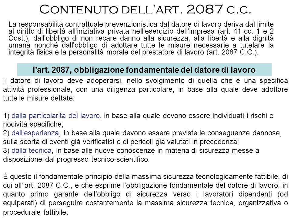 Contenuto dell'art. 2087 c.c. La responsabilità contrattuale prevenzionistica dal datore di lavoro deriva dal limite al diritto di libertà all'iniziat