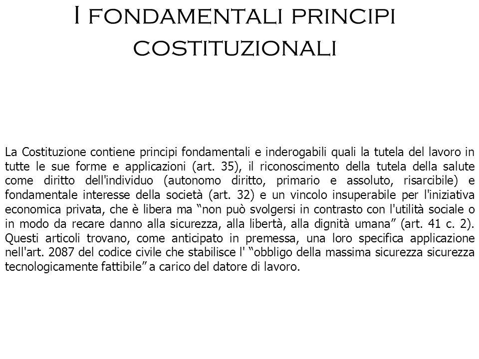 I fondamentali principi costituzionali La Costituzione contiene principi fondamentali e inderogabili quali la tutela del lavoro in tutte le sue forme
