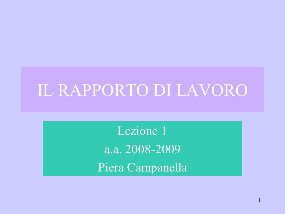 1 IL RAPPORTO DI LAVORO Lezione 1 a.a. 2008-2009 Piera Campanella
