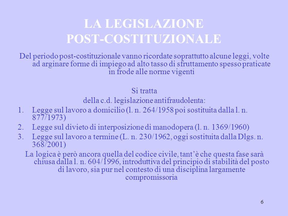 7 LO STATUTO DEI LAVORATORI Legge n.