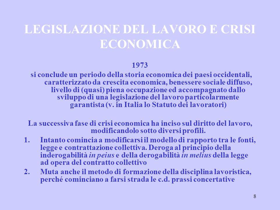 8 LEGISLAZIONE DEL LAVORO E CRISI ECONOMICA 1973 si conclude un periodo della storia economica dei paesi occidentali, caratterizzato da crescita econo