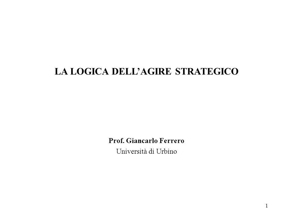 1 LA LOGICA DELLAGIRE STRATEGICO Prof. Giancarlo Ferrero Università di Urbino