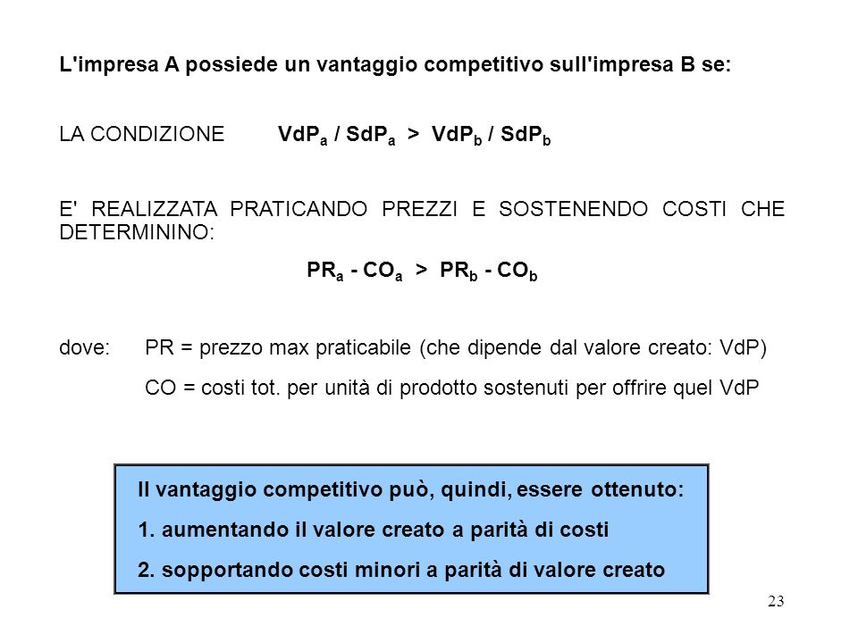 23 L'impresa A possiede un vantaggio competitivo sull'impresa B se: LA CONDIZIONE VdP a / SdP a > VdP b / SdP b E' REALIZZATA PRATICANDO PREZZI E SOST