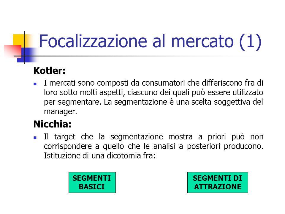 Focalizzazione al mercato (1) Kotler: I mercati sono composti da consumatori che differiscono fra di loro sotto molti aspetti, ciascuno dei quali può