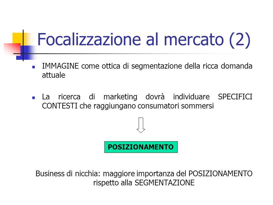 Focalizzazione al mercato (2) IMMAGINE come ottica di segmentazione della ricca domanda attuale La ricerca di marketing dovrà individuare SPECIFICI CO