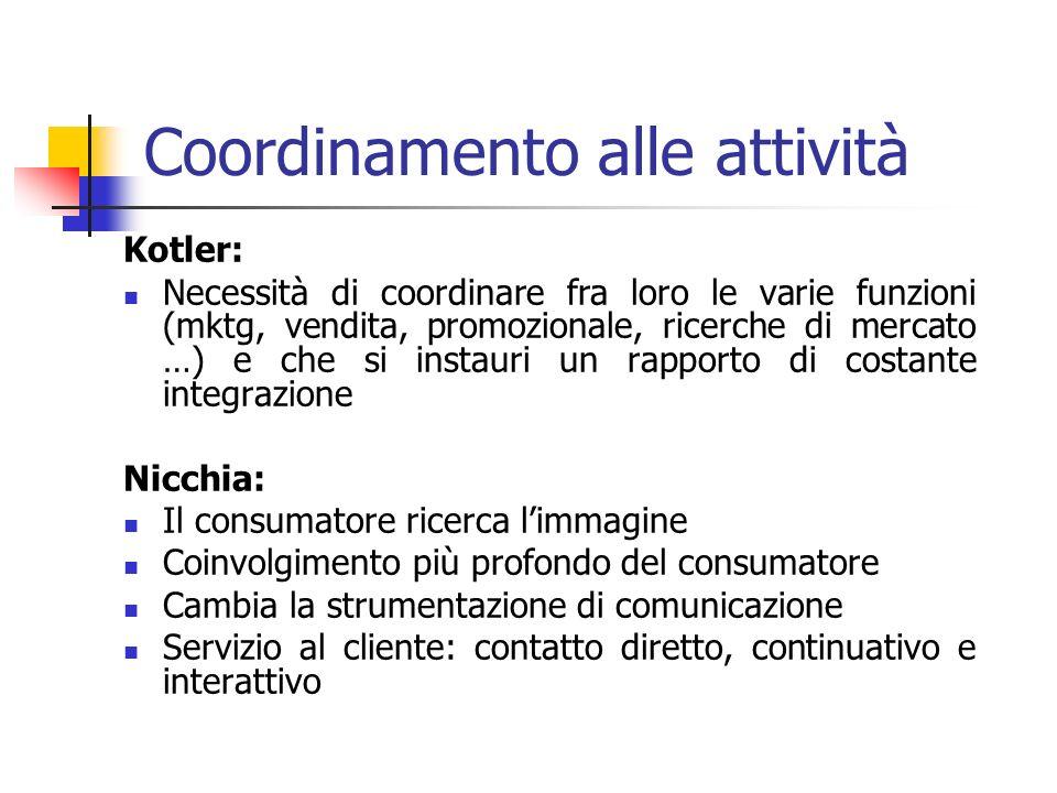 Coordinamento alle attività Kotler: Necessità di coordinare fra loro le varie funzioni (mktg, vendita, promozionale, ricerche di mercato …) e che si i