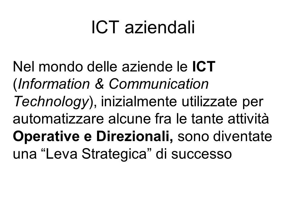 ICT aziendali Nel mondo delle aziende le ICT (Information & Communication Technology), inizialmente utilizzate per automatizzare alcune fra le tante a