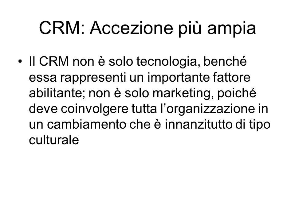 CRM: Accezione più ampia Il CRM non è solo tecnologia, benché essa rappresenti un importante fattore abilitante; non è solo marketing, poiché deve coi
