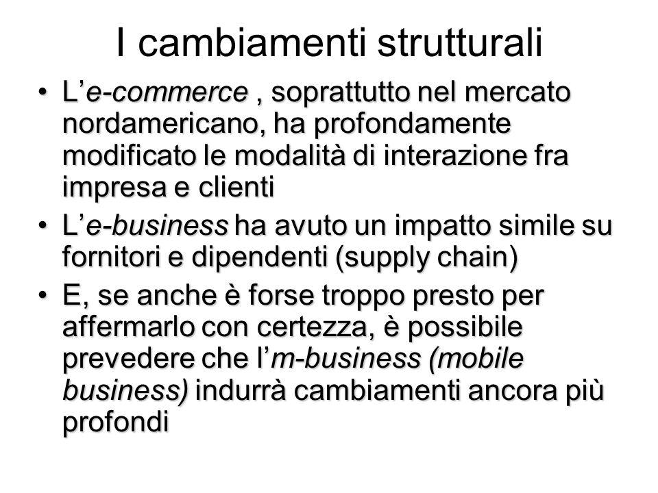 I cambiamenti strutturali Le-commerce, soprattutto nel mercato nordamericano, ha profondamente modificato le modalità di interazione fra impresa e cli