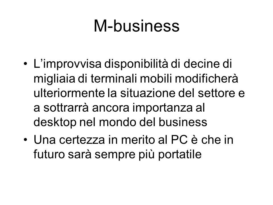M-business Limprovvisa disponibilità di decine di migliaia di terminali mobili modificherà ulteriormente la situazione del settore e a sottrarrà ancor