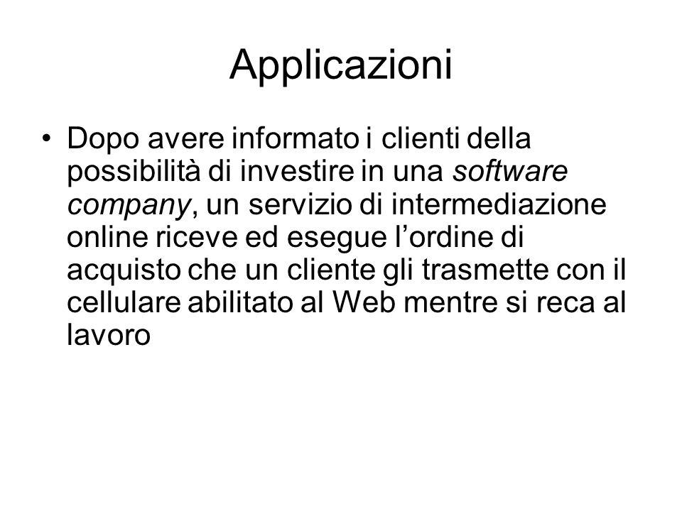 Applicazioni Dopo avere informato i clienti della possibilità di investire in una software company, un servizio di intermediazione online riceve ed es