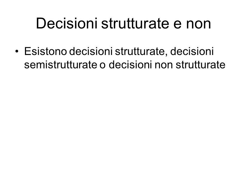 Decisioni strutturate e non Esistono decisioni strutturate, decisioni semistrutturate o decisioni non strutturate
