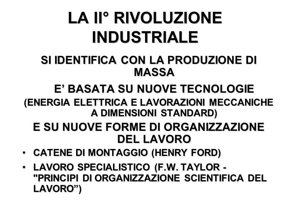 LA II° RIVOLUZIONE INDUSTRIALE SI IDENTIFICA CON LA PRODUZIONE DI MASSA E BASATA SU NUOVE TECNOLOGIE (ENERGIA ELETTRICA E LAVORAZIONI MECCANICHE A DIM