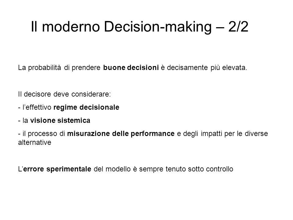 Il moderno Decision-making – 2/2 La probabilità di prendere buone decisioni è decisamente più elevata. Il decisore deve considerare: - leffettivo regi