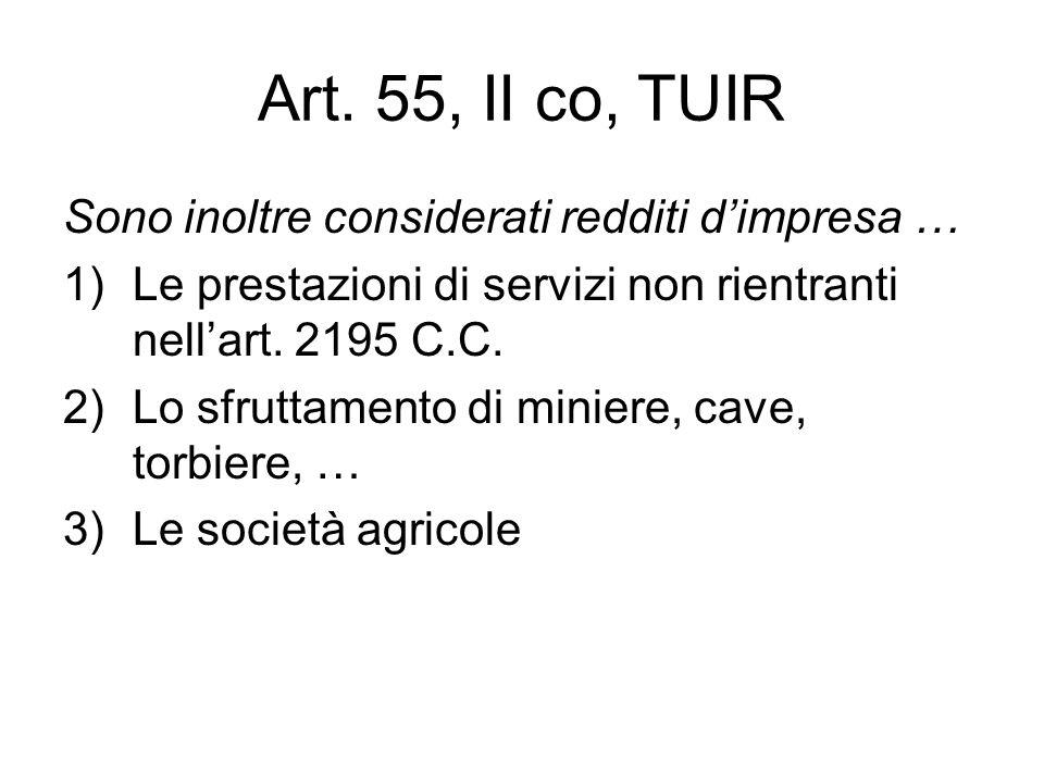 Art. 55, II co, TUIR Sono inoltre considerati redditi dimpresa … 1)Le prestazioni di servizi non rientranti nellart. 2195 C.C. 2)Lo sfruttamento di mi