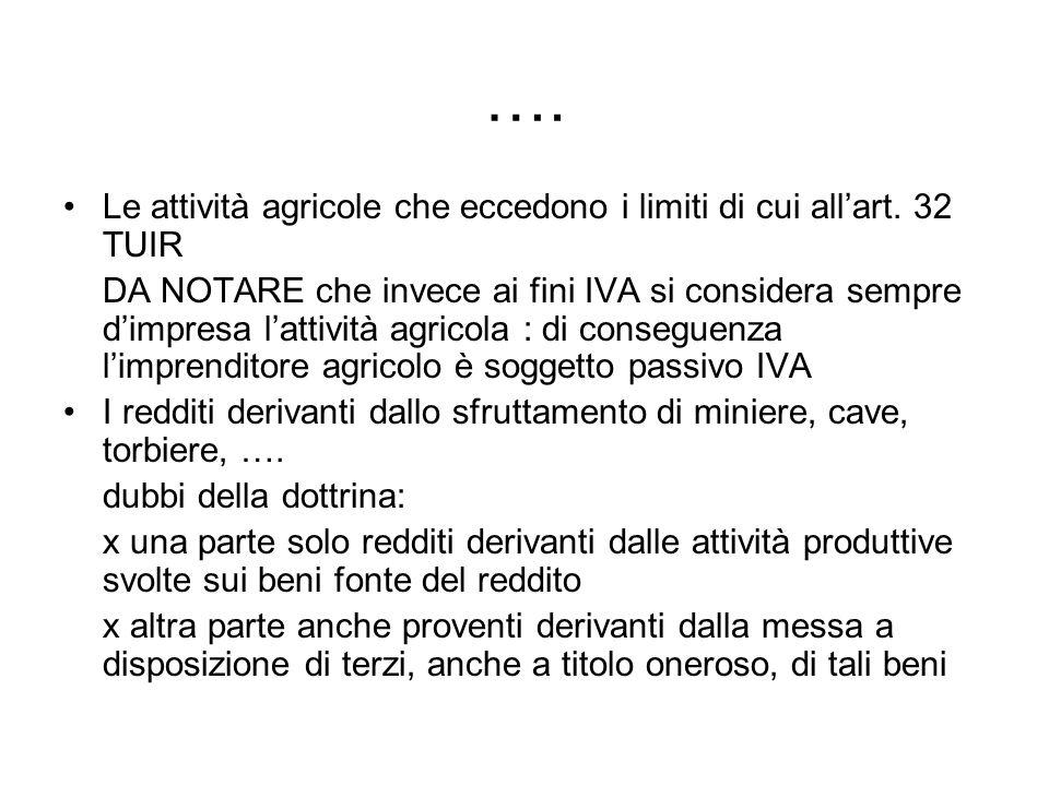…. Le attività agricole che eccedono i limiti di cui allart. 32 TUIR DA NOTARE che invece ai fini IVA si considera sempre dimpresa lattività agricola