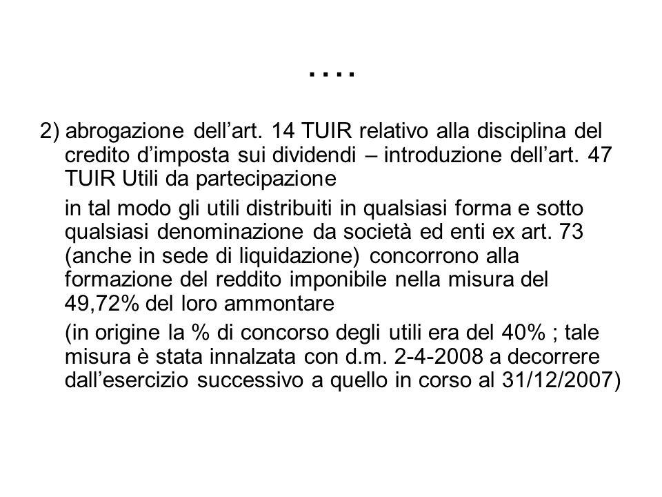…. 2) abrogazione dellart. 14 TUIR relativo alla disciplina del credito dimposta sui dividendi – introduzione dellart. 47 TUIR Utili da partecipazione