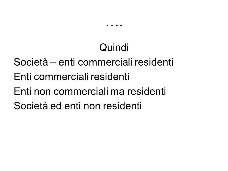 …. Quindi Società – enti commerciali residenti Enti commerciali residenti Enti non commerciali ma residenti Società ed enti non residenti