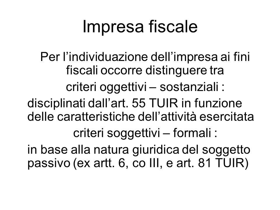 Impresa fiscale Per lindividuazione dellimpresa ai fini fiscali occorre distinguere tra criteri oggettivi – sostanziali : disciplinati dallart. 55 TUI