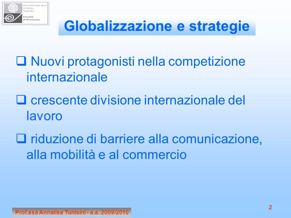 Prof.ssa Annalisa Tunisini - a.a. 2009/2010 2 Nuovi protagonisti nella competizione internazionale crescente divisione internazionale del lavoro riduz