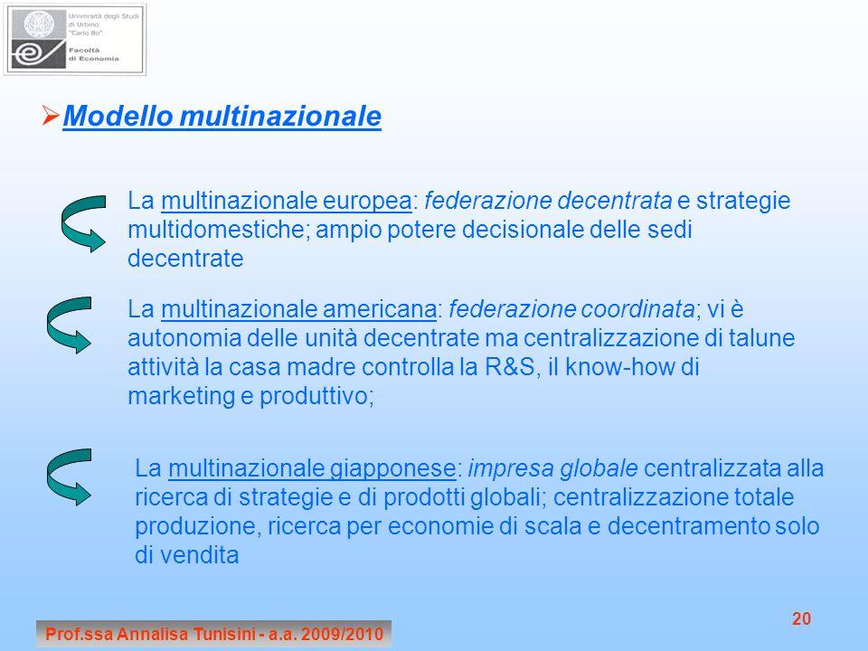 Prof.ssa Annalisa Tunisini - a.a. 2009/2010 20 Modello multinazionale La multinazionale europea: federazione decentrata e strategie multidomestiche; a
