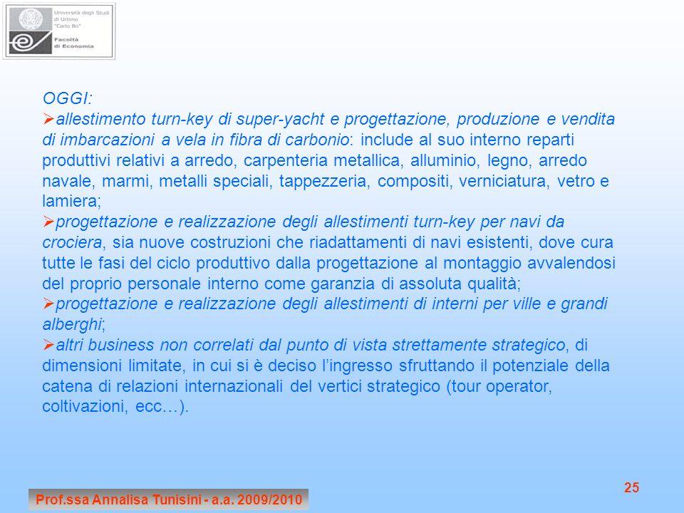 Prof.ssa Annalisa Tunisini - a.a. 2009/2010 25 OGGI: allestimento turn-key di super-yacht e progettazione, produzione e vendita di imbarcazioni a vela