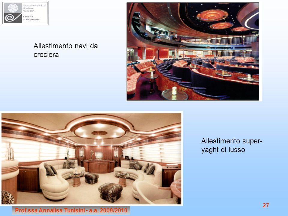 Prof.ssa Annalisa Tunisini - a.a. 2009/2010 27 Allestimento navi da crociera Allestimento super- yaght di lusso