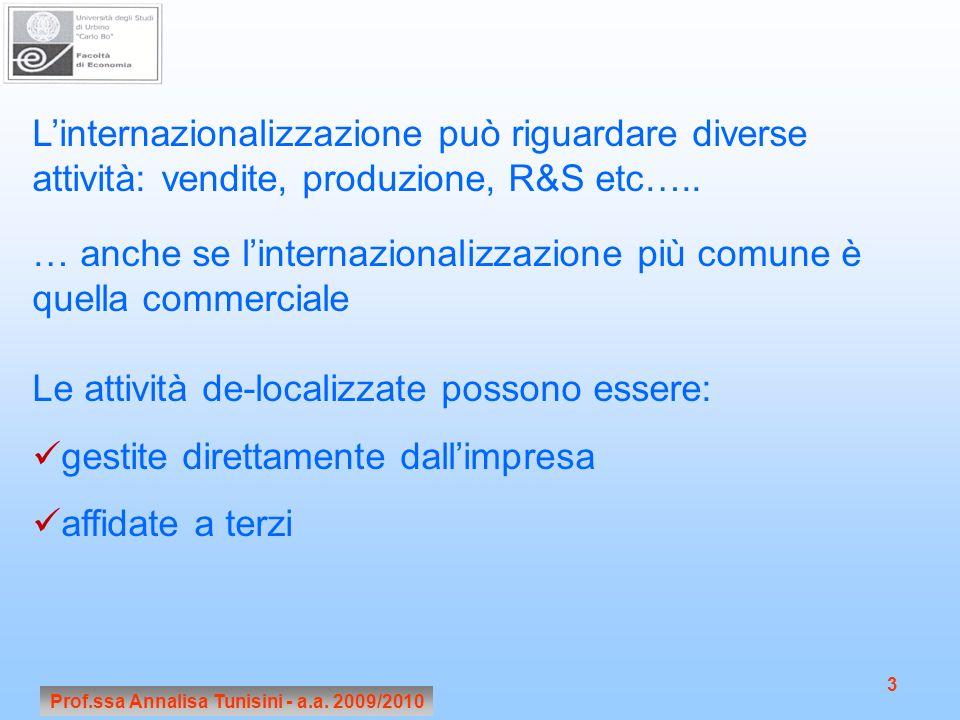Prof.ssa Annalisa Tunisini - a.a. 2009/2010 3 Linternazionalizzazione può riguardare diverse attività: vendite, produzione, R&S etc….. … anche se lint