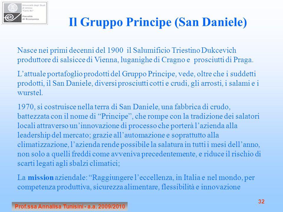 Prof.ssa Annalisa Tunisini - a.a. 2009/2010 32 Il Gruppo Principe (San Daniele) Nasce nei primi decenni del 1900 il Salumificio Triestino Dukcevich pr