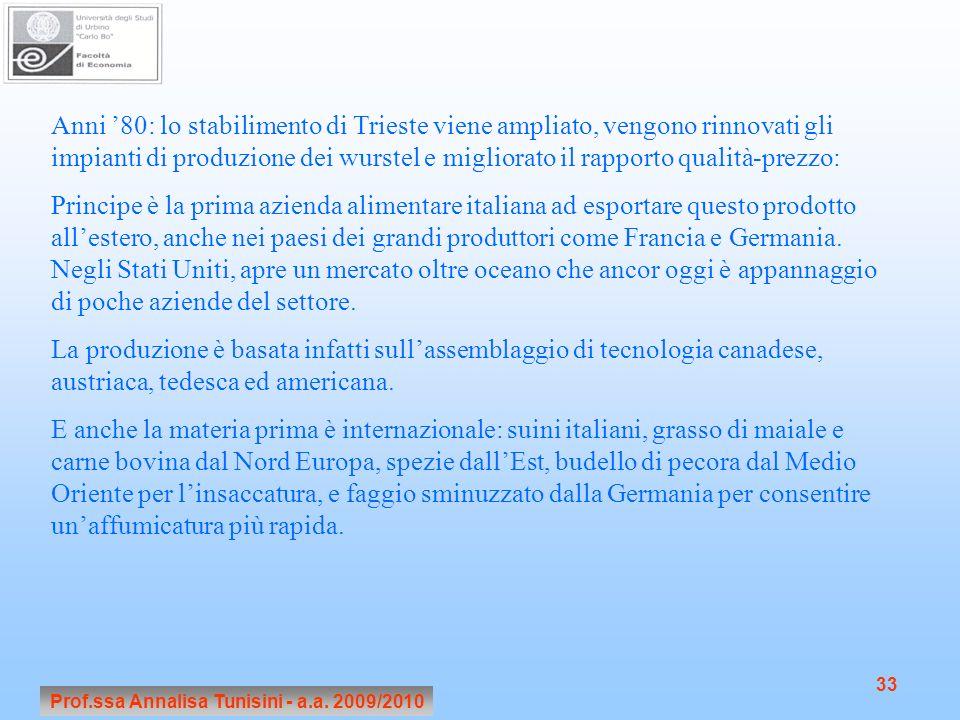 Prof.ssa Annalisa Tunisini - a.a. 2009/2010 33 Anni 80: lo stabilimento di Trieste viene ampliato, vengono rinnovati gli impianti di produzione dei wu